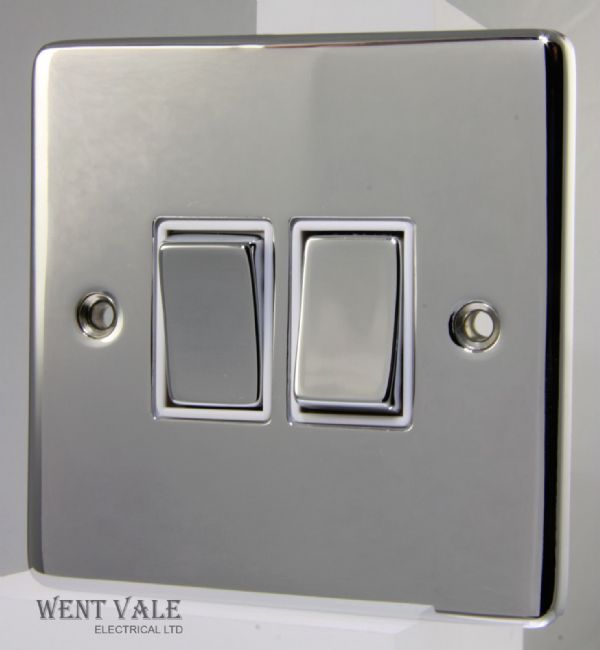 Heritage Brass Gala Elite Range - C22.810.PCW - 10ax 2 Gang 2 Way Plate Switch